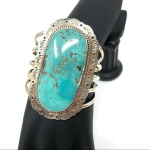 Like🆕Large NAVAJO turquoise Sterling cuff, 112.7g